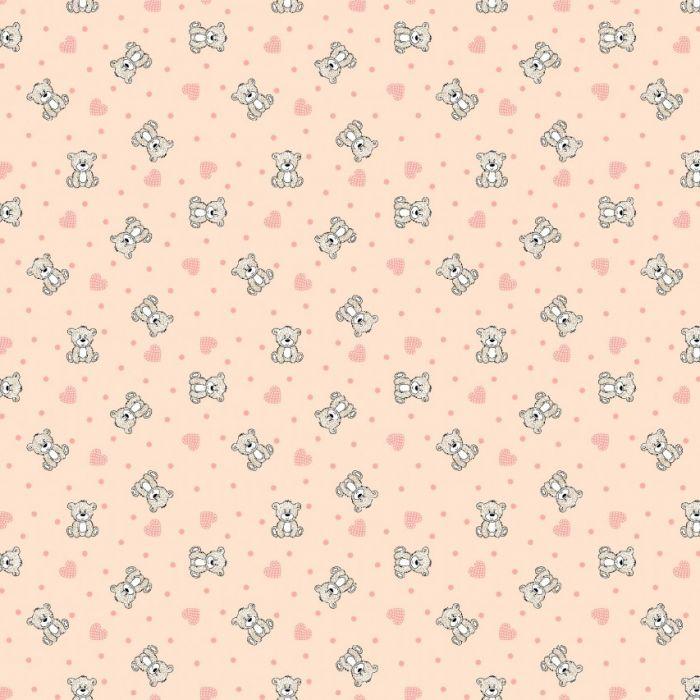 Фланель дет грунт ш 90 (7870/1 Мишки с сердечками персик, м)