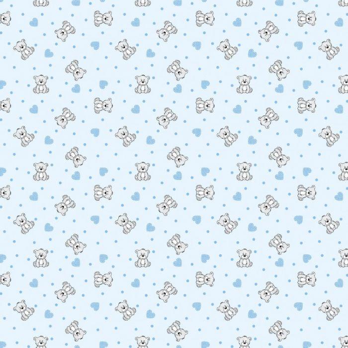Фланель дет грунт ш 90 (7870/2 Мишки с сердечками голубой, м)