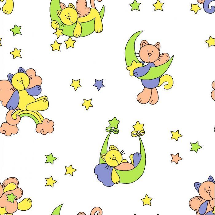 Фланель б/з ш 90 (5791/1 Звездный котик, м)